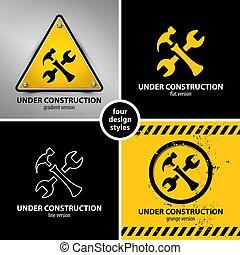 set of under construction symbols
