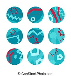 Set of underwater blue and red round icons