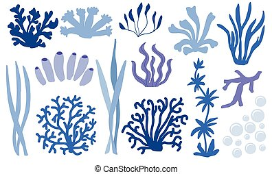 Set of underwater color coral icons. Reef nature marine, aquatic vector illustration