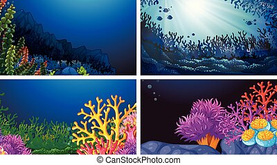 Set of underwater landscape