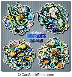 Set of underwater life cartoon stickers. Vector doodle...