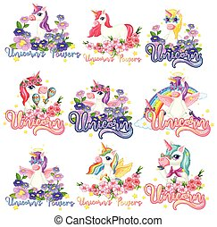Set of unicorn banner