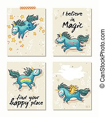 Set of Unicorn cards. Childish background with cartoon character.