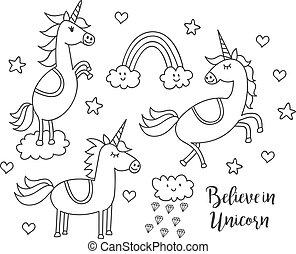 Set of unicorn doodle