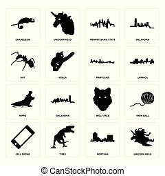 Set of unicorn head, montana, cell phone, wolf face, hippo, maryland, ant, pennsylvania state, chameleon icons