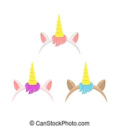 Set of unicorn headbands with hair
