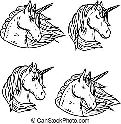 Set of unicorn heads isolated on white background. Vector illustration