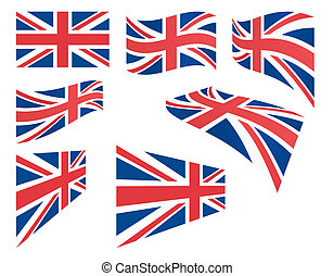 set of United Kingdom flags vector illustration