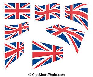 set of United Kingdom flags vector illustration