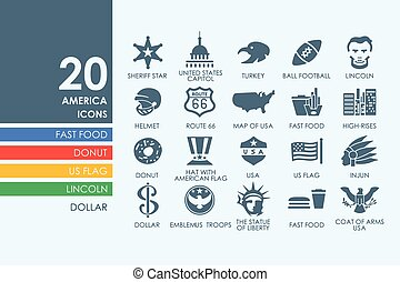 Set of United States icons