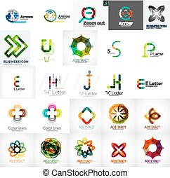 Set of universal company logos and design elements -...