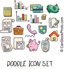 Set of Universal Doodle Icons. Bright Colors and Variety of Topics.