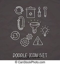 Set of Universal Doodle Icons. Variety of Topics.