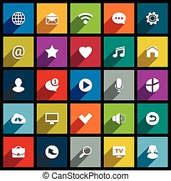 Set of universal flat icons for web, internet, mobile apps