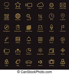 Set of universal modern thin line icons for web and mobile on colorful background