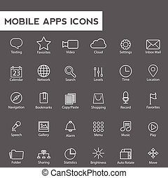 Set of universal modern thin line icons for web and mobile