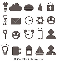 Set of Universal Outline Icons For Web and Mobile. Vector...