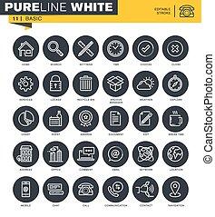 Set of universal thin line icons