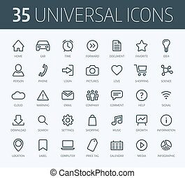 Set of universal thin line icons for print or web