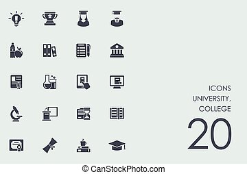 Set of university, college icons