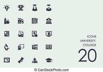 Set of university, college icons