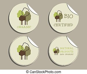 Set of unusual green organic labels - stickers for natural shop products. Ecology theme. Eco design. Vector illustration