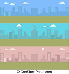 Set of Urban Cityscape. Silhouettes of Buildings.