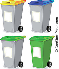 Illustration of a collection of cartoon recyclable trash bin for household waste sorting, in yellow, blue, and green top, with blank signs for message