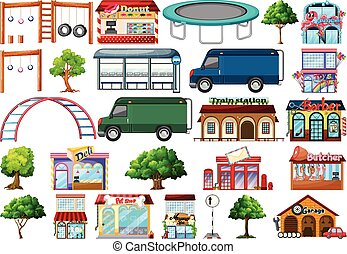 Set of urban shop