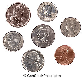Set of U.S. Coins - A set of U.S. coins isolated on white....