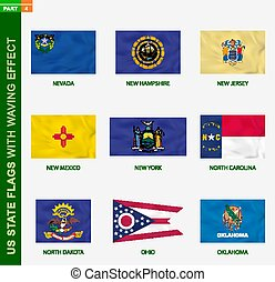 Set of US state flags with waving effect, national flag with texture.