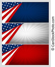 Set of USA banner abstract background design of american flag with copy space vector illustration
