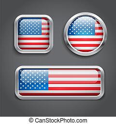 USA flag glass buttons - Set of USA flag glass buttons, ...