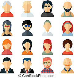 Set of user avatar icons in flat style with diverse men and ...