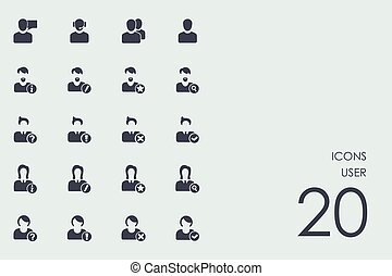 Set of user icons - user vector set of modern simple icons