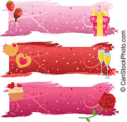 Set of Valentine banners