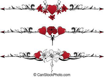 set of Valentine  borders