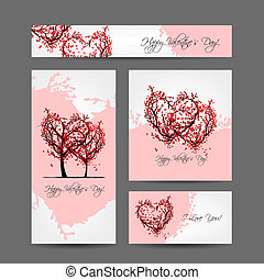 Set of valentine cards design with sakura trees