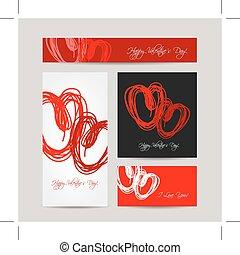 Set of valentine cards for your design