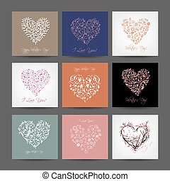 Set of valentine cards with hearts for your design