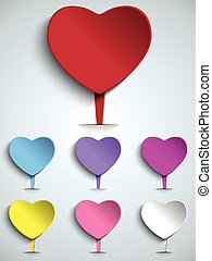 Set of Valentine Day Colorful Heart