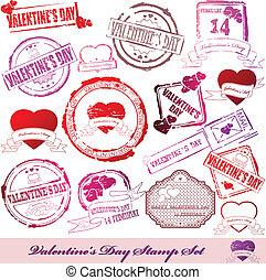 Set of Valentine Day stamps