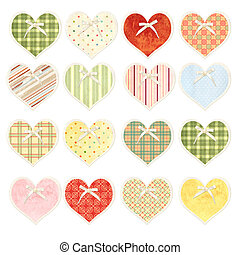 Set of valentine hearts with paper texture in shabby chic style