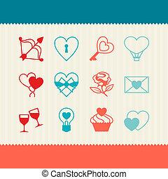 Set of Valentine's and Wedding icons, design elements.