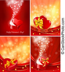 Set of Valentine`s day backgrounds with open gift boxes and ...