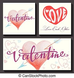 Set of Valentine's Day cards with hearts and arrows. For greeting card, poster, menu, party invitation