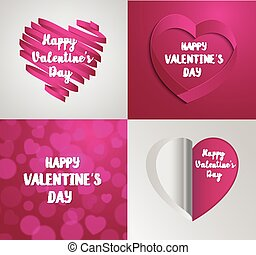 set of Valentine's Day greeting card.