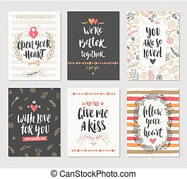 Set of Valentine's Day greeting card