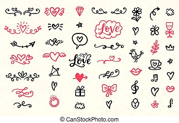 Set of Valentines Day hand drawn doodles icons