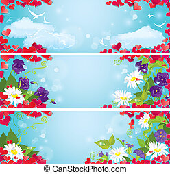 Set of Valentine`s Day horizontal banners with Red hearts confetti and wild flowers on blue sky background.